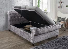 Birlea Castello Steel Crushed Velvet Side Lift Up Ottoman Storage Bed - 4ft6, 5ft & 6ft