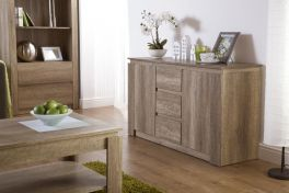 Canyon Dark Oak 2 Door 3 Drawer Sideboard - Unique 3D Oak Design