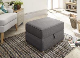 Dauphine Hopsack Fabric Square Storage Footstool Ottoman - Charcoal or Light Grey