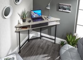Telford Corner Desk with Drawer and Shelves - Home Office Desk - Concrete & Black