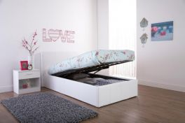 Caspian Ottoman Storage Bed - End Lift - White - 3ft, 4ft, 4ft6 & 5ft