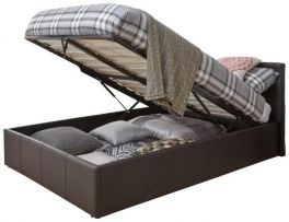 Caspian Ottoman Storage Bed - End Lift - Brown - 3ft, 4ft, 4ft6 & 5ft