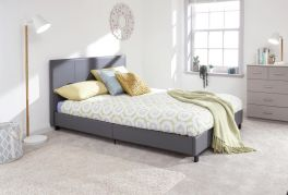 Grey Faux Leather Modern Standard Frame Bed in a Box - 3ft, 4ft, 4ft6 & 5ft