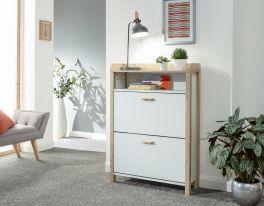 Berwick Open Top 2 Drawer Shoe Cabinet in White & Light Oak