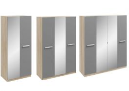 Genoa Oak & Grey High Gloss 2, 3 & 4 Door Mirrored Wardrobes