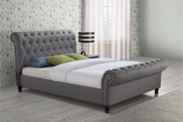 Birlea Castello Fabric Grey Sleigh Bed - 4ft6 Double, 5ft King & 6ft Super King