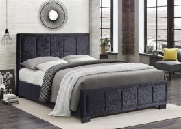 Birlea Hannover Black Crushed Velvet Bed Frame - 4ft Small Double, 4ft6 Double & 5ft Kingsize