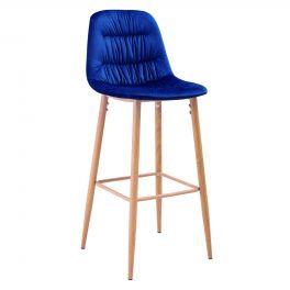 Set of 2 LPD Harper Blue Velvet Fabric & Wood Effect Leg Barstools