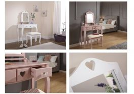 Shabby Chic Heart Dressing Table Set with Stool Mirror & Drawers - Pink or White