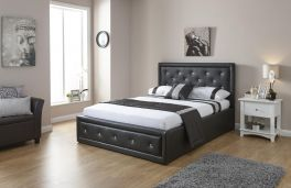 Hollywood Black Ottoman Lift Up Storage Bed with Crystal Diamantes - 3ft Single, 4ft6 Double, 5ft Kingsize