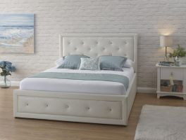 Hollywood White Ottoman Lift Up Storage Bed with Crystal Diamantes - 3ft Single, 4ft6 Double, 5ft Kingsize