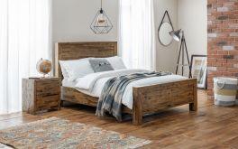 Julian Bowen Hoxton Wooden Bed - Acacia - Rustic Oak - 4ft6 Double, 5ft Kingsize