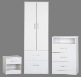 Seconique Polar 3 Piece White Bedroom Set - Wardrobe, 3 Drawer Chest, Bedside Cabinet