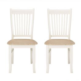 Juliette Cream and Pine Dining Chair x2 - Shabby Chic