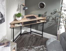 Telford Corner Desk with Drawer and Shelves - Home Office Desk - Dark Oak & Black