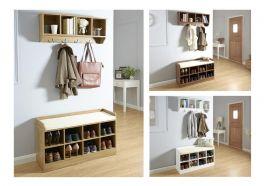 Kempton Hallway Storage Bench & Wall Storage Shelf Rack with Coat Hooks
