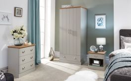 Kendal Grey & Oak Country Style 3 Piece Bedroom Set