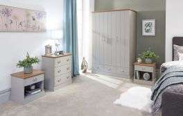 Kendal Grey & Oak Country Style 4 Piece Bedroom Set