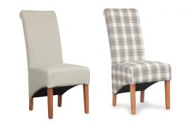 2x Krista Scroll Dining Chairs - Herringbone Fabric Cappuccino Plain & Check