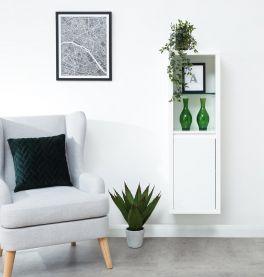 Polar High Gloss Modern Wall Mounted LED Lit Display Unit - White