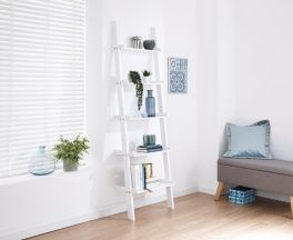 White Ladder Shelving Unit 5 Tier Display Stand - Bookcase Shelf Wall Rack Storage
