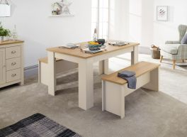Lancaster Cream Dining Table & Bench Set with Oak Top - 120cm & 150cm