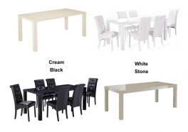 Monroe Small, Medium and Large High Gloss Dining Tables - Stone, Cream, Black or White