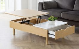 Julian Bowen Latimer Lift-Up Storage Coffee Table - White Gloss & Oak
