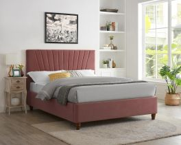 LPD Lexie Pink Retro Fabric Bed Frame - 4ft6 Double or 5ft Kingsize