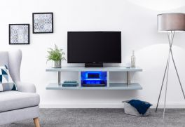 Polar High Gloss Modern Wall Mounted LED Lit TV Unit - Grey