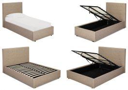 LPD Lucca Beige Linen Fabric Ottoman Beds - 3ft 4ft 4ft6 5ft