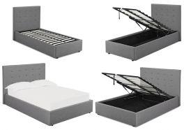 LPD Lucca Grey Linen Fabric Ottoman Beds - 3ft 4ft 4ft6 5ft