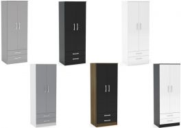 Birlea Lynx High Gloss 2 Door 2 Drawer Combi Wardrobe - Choice of Colours