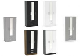 Birlea Lynx High Gloss 3 Door 2 Drawer Combi Mirrored Wardrobe - Choice of Colours
