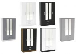Birlea Lynx High Gloss 4 Door 2 Drawer Mirrored Wardrobe - Choice of Colours