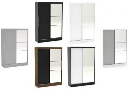 Birlea Lynx High Gloss Sliding Mirrored Wardrobe - Choice of Colours