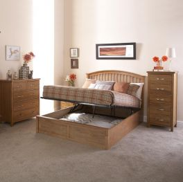 Madrid Oak Colour Solid Wood Ottoman Gas Lift Storage Bed - 3ft, 4ft6 & 5ft