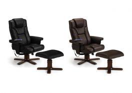 Julian Bowen Malmo PU Leather Massage Recliner Chair & Stool - Black or Brown
