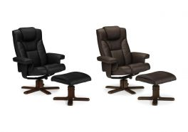 Julian Bowen Malmo PU Leather Recliner Chair & Foot Stool - Black or Brown