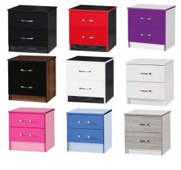 Marina High Gloss 2 Drawer Bedside Cabinets - 9 Colours Available