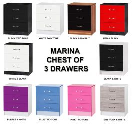 Marina High Gloss 3 Drawer Chest - Large Deep Drawers - 10 Colours Available