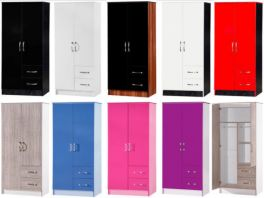 Marina High Gloss Combi Wardrobe 2 Door 2 Drawer - 10 Colours