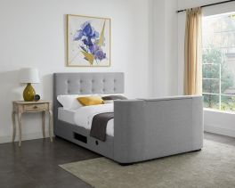 LPD Mayfair Grey Fabric TV Bed - 4ft6 Double or 5ft Kingsize