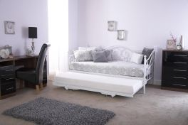 Madison 3ft Single Day Bed with Pull Out Trundle Bed - White Gloss Metal