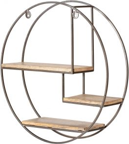 MH London Marly Handmade Iron & Wood Wall Shelf Bronze - Round