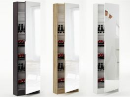 6ft Mirrored Shoe Cabinet Storage 180cm - Full Mirror - Black, White or Oak