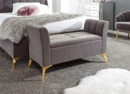 Pettine Chic Soft Touch Fabric Ottoman Storage Bench - Grey