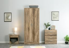 Nebula Natural Oak 3 Piece Bedroom Furniture Set - Wardrobe, Bedside, Chest of Drawers