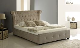 Artisan Mink Fabric 4ft6 Double Ottoman Lift Up Storage Bed