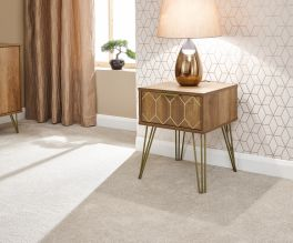 Orleans 1 Drawer Mango Wood Effect Lamp Table